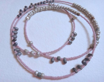 Pink and Silver Japanese Glass Beaded Necklace