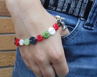 Festive Bracelet, Skinny Bangle, Christmas Buttons, Stocking Filler for Women, Unique Xmas Accessory for Girls, Secret Santa Gift
