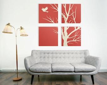 Modern Nature Canvas Print, 4 Piece Art, 4 Set Square Canvas Art, Large Canvas Print, Tree Canvas Art, Large Wrapped Canvas, Living Room Art