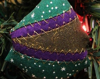 Christmas Tree Quilted Fabric Ornaments