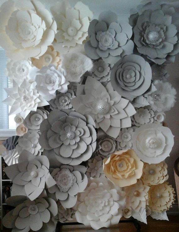 DIY Paper Flower Backdrop Ivory Grey White Paper Flowers