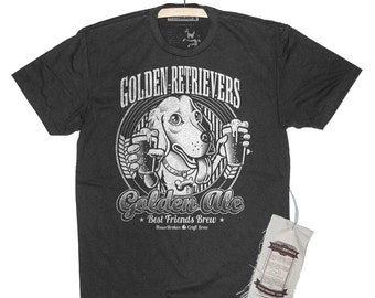 Mens Golden Retriever Shirt. Dog Drinking Beer Shirt in Sizes Small to XXXL
