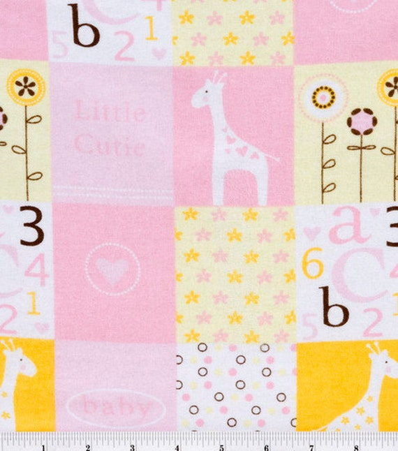 Baby girl flannel fabric sold by the 1 2 yard giraffe for Children s flannel fabric by the yard