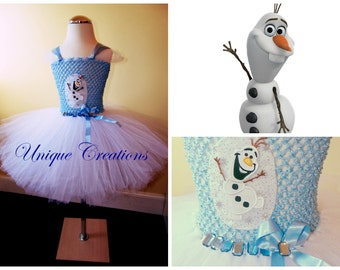 Olaf tutu dress with 6 layers of tulle, embroidered patch and ribbon