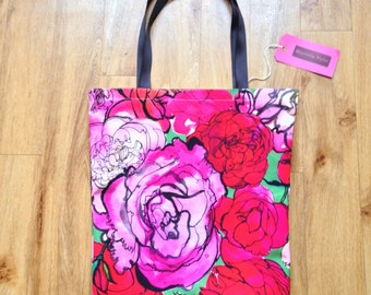 Blushing Roses // Canvas Tote // Bag // Shopper