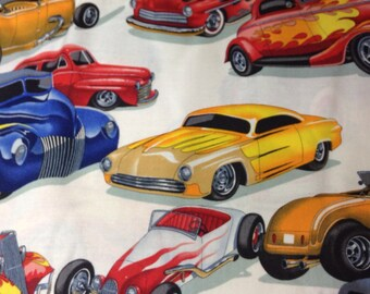 One Half Yard of Fabric Material - Hot Rod Cars White