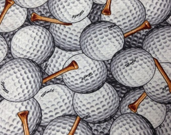 One Half Yard of Fabric Material - Golf Balls and Tees