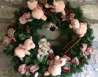 Christmas New Year Wreath with Pigs