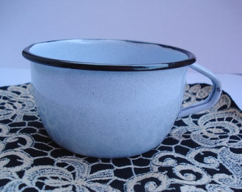 Unused Vintage Enamel Mug in Pale Blue, Home decor, Camp Mug, Enamelware