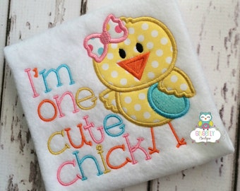 I'm One Cute Chick Easter Shirt or Bodysuit, Girl Easter Shirt, Girl Easter Chick Shirt, One Cute Chick Shirt, Girl Egg Hunt Shirt, Easter