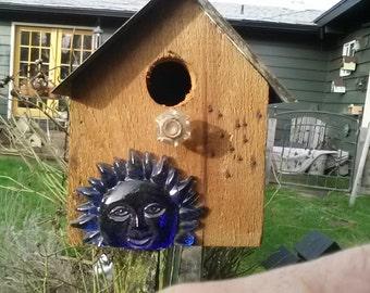 Birdhouse, cedar, blue sun