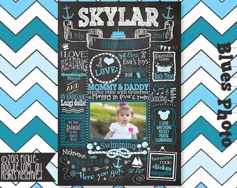 1st Birthday Chalkboard Poster Sign for Birthday Parties - Customized Birthday Chalkboard with Photo- Baby's 1st Birthday Chalkboard - First