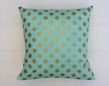 Aqua & Gold Dots Cushion Cover