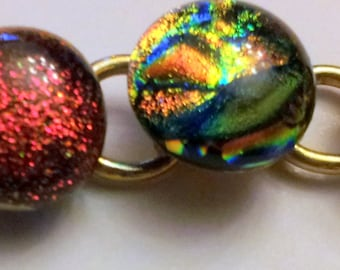 Dichroic glass bracelet copper and autums colours 12 cabochons
