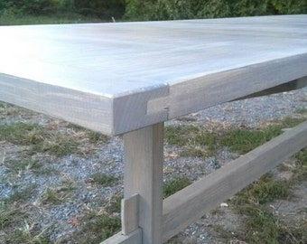Graywash/Pickled Finish Mortise and Tenon Trestle Table