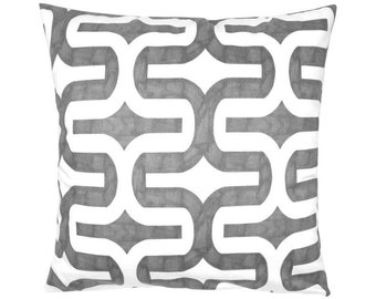 Cushion cover graphic pattern batik print EMBRACE 50 x 50 cm grey white