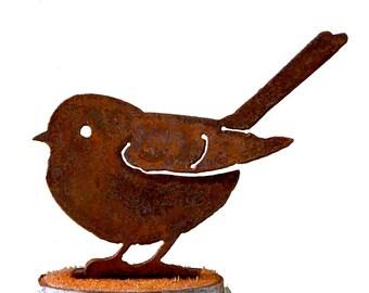 B700 Baby Fat Chickadee Rusty Metal Bird - Rusty Birds Steel Silhouette