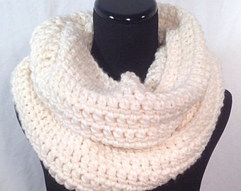 Winter White Crochet Infinity Scarf