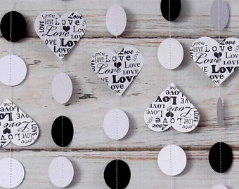 Black and White, Paper Garland, Heart, Love, Wedding Banner, Engagement Party, Valentine's Décor