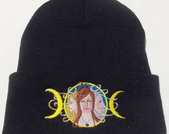 Triple Moon,Winter Beanie Hat, Embroidered,Wiccan,Pagan,MaidenMotherCrone, join together in this lunar  design.