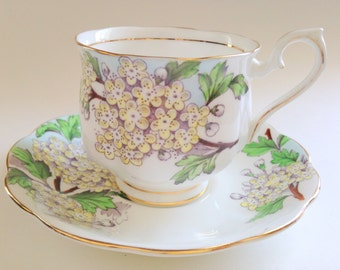 Hand Painted Royal Albert Tea Cup and Saucer, Hawthorn Flower of the Month, English Tea Cups, Tea Set, English Teacups, Gift for Her