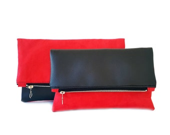 Black and red leather clutch, faux suede and faux leather clutch, colorblock clutch foldover, two faces clutch, leather clutch bag, 2 sizes