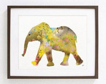Yellow Elephant Painting, Watercolor Art - 8x10 Archival Print - Animals, Elephant Painting, Wall Decor Art Home Decor Housewares