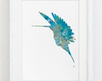 Hummingbird Watercolor Painting - 5x7 Reproduction Print - Teal, Gray, Blue Hummingbird Silhouette Art - Wall Decor, Home Decor, Gifts