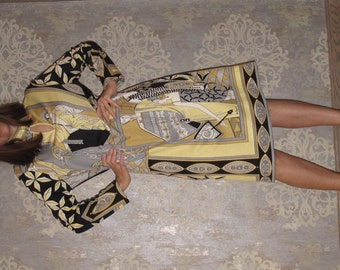 Vintage 60s 70s PAGANNE MOD Dress Signed, Flapper Girl Print size M or L
