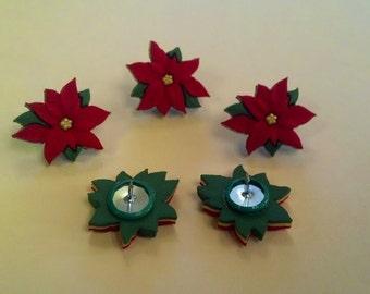 poinsettia thumbtacks - Christmas decor, stocking stuffer or teacher gift. For college dorm, office, kitchen, classroom. Holiday flower