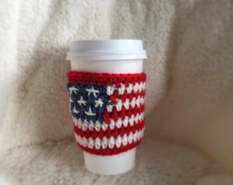 American Flag Coffee Cozy - 4th of July Cozy - Red White Blue Coffee Cup Warmer - Memorial Day Cozy