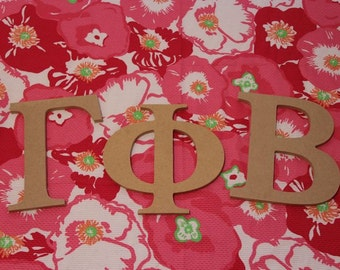 3 traditional or curlz 8 inch wooden greek letters shown in gamma phi beta