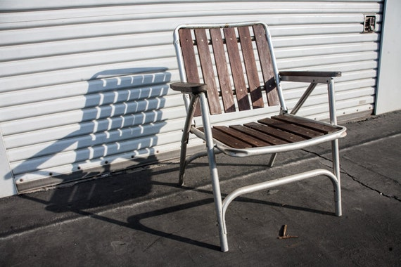 Aluminum Teak Vintage Folding Lawn Chair By