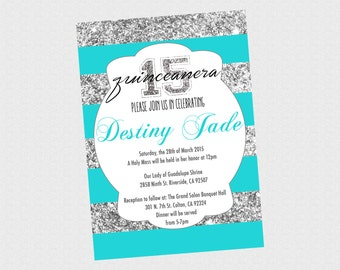 quinceanera 15th Birthday Invitation - Silver Glitter quinceanera 15th Birthday Invitation - PRINTABLE