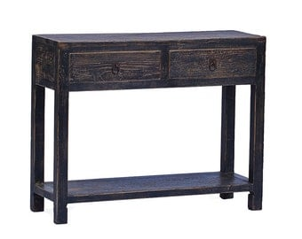 Reclaimed wood console table with drawers by Terra Nova