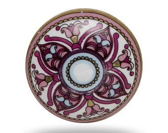 Floral Print Ceramic Cairo Furniture Knob, White and Pink Flower Door Handle, Decorative Door Knob for a Kitchen Cabinet or Dresser Drawer