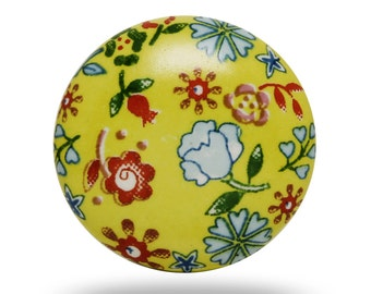 Vintage Ceramic Field Knob in Yellow with Floral Print, Flower Decorative Knob Accent, Dresser Drawer Knob, Bureau Pull, Cabinet Handle