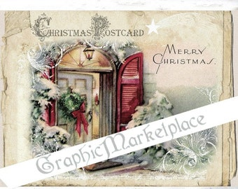 Christmas Postcard Large Image Instant Download Vintage Transfer Fabric digital collage sheet printable No. 1201