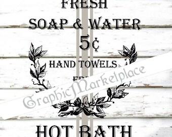 Hoth Bath Soap Le Bain Water Towels Transfer Burlap digital collage sheet printable graphic  No. 1016