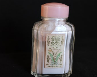 Vintage Sachet Muguet Coty New York, Paris, 2 Oz, Lilly of the Valley, Powder, Old, Glass Bottle, Pink, Vanity, Bottle