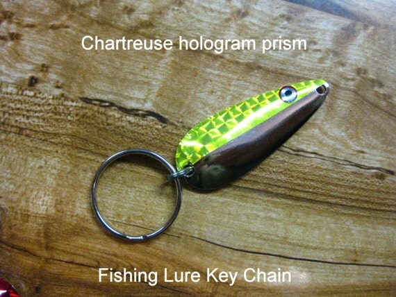 Fishing lure keychain chartreuse by denpersonalizedgifts for Chartreuse fishing lure