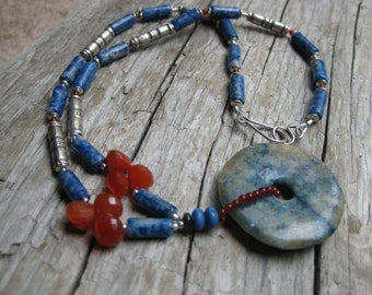 Hand made Lapis Lazuli and Carnelian Necklace