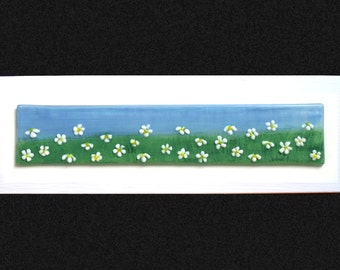 """Fused glass painting 'Daisy' Hand painted Daisy field with raised fused glass flowers, set on a white frame. 34x10cm (13.5x4"""")"""