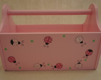 Painted Toy Caddy - Lady Bugs