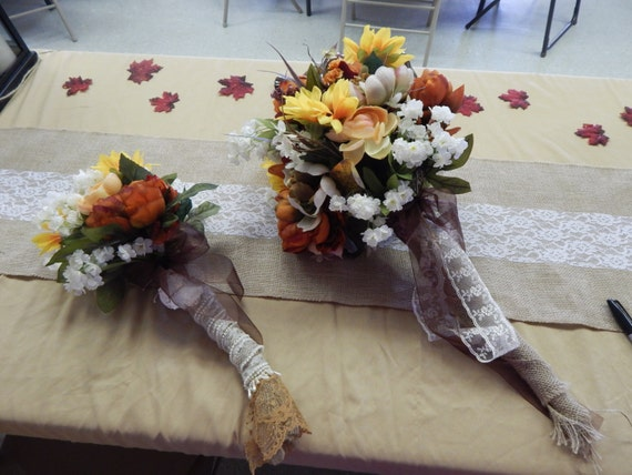 Sale two country shabby chic fall wedding by primitivecloset for Fall wedding bouquets for sale