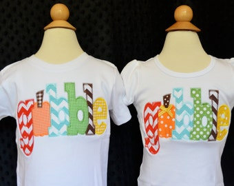 Personalized Gobble Thanksgiving Turkey Initial Applique Shirt or Onesie for Boy or Girl