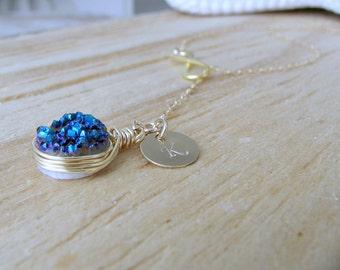 Blue Druzy Lariat,Personalized Initial Lariat,Infinity Lariat,14k gold filled Druzy Necklace,Custom Initial,blue Quartz Lariat,Druzy Jewelry