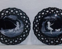 1940's Black Glass Mary Gregory Plates by Westmoreland Glass Company