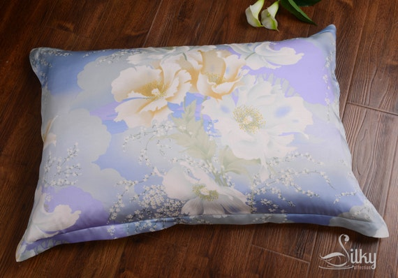 100 Silk Printed Flowers Pillow Cover Lavender By
