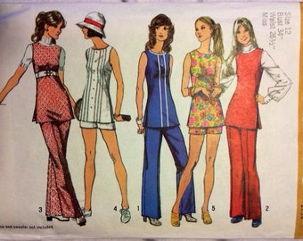 70s vintage tunic, pants and shorts pattern, size 12 (Simplicity 5069)
